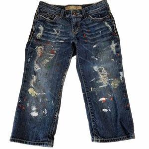 BKE Sabrina Crop/Capri Jeans Size 25 Distressed